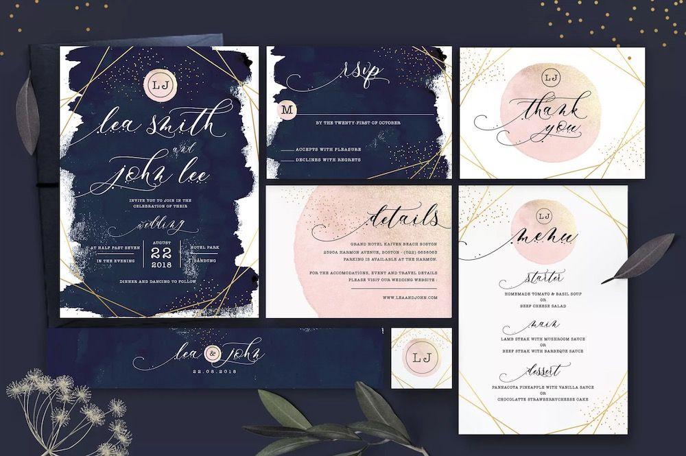 Glitter Wedding Invitation Set-Template7