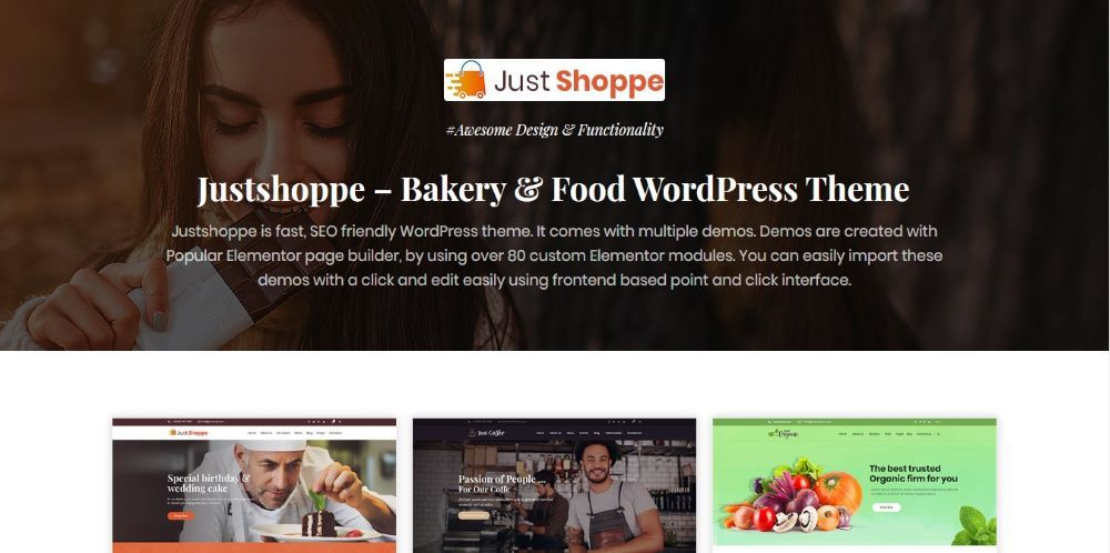 Justshoppe - Elementor Cake Bakery WordPress Theme - Template7